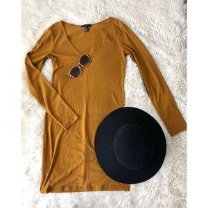 FOREVER21 mustard long sleeve v-neck bodycon dress